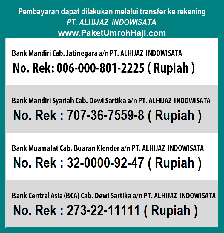 rekening alhijaz travel